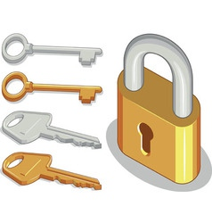 Key Lock or Padlock vector image