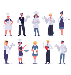 kitchen workers restaurant staff characters chef vector image