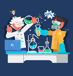 laboratory assistants work in scientific medical vector image