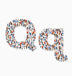 large group people in letter q form vector image