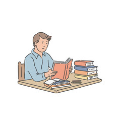 Male student sitting at table with pile of books vector