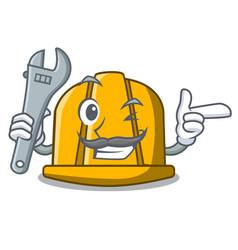 mechanic construction helmet mascot cartoon vector image