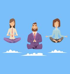 meditation yoga business group character vector image