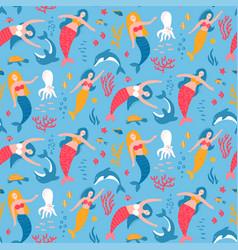 mermaid and animal under sea seamless pattern vector image
