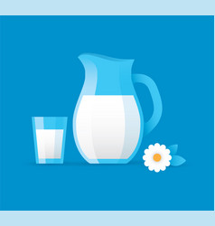 milk jug and glass vector image
