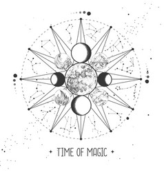 Modern magic witchcraft astrology wheel vector