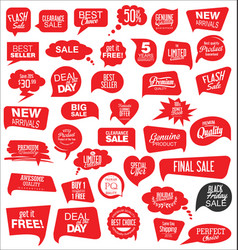 modern sale stickers and tags red collection 1 vector image