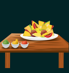 Nachos mexican food with sauces menu restaurant vector
