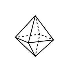 Octahedron geometric shape projection dashed line vector