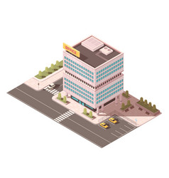 Office building isometric mockup vector