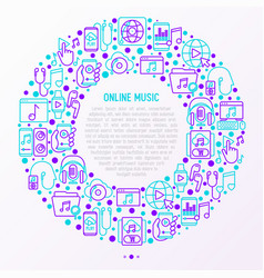 Online music concept in circle with thin line icon vector