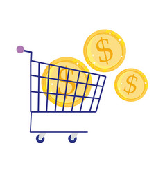 Online payment coins money in shopping cart vector