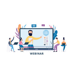 online webinar or seminar with cartoon people flat vector image