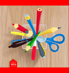Pencils and pens in holder vector