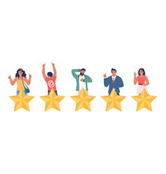 people giving five star feedback flat vector image
