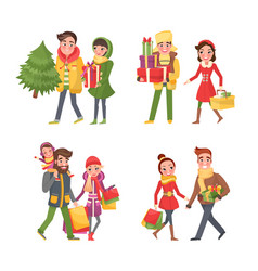 people preparing to celebrate christmas holiday vector image