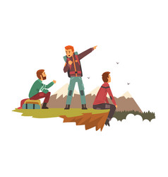 people resting on top mountain men vector image