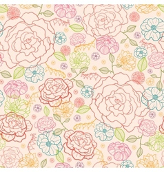 Pink roses seamless pattern background vector image