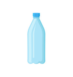 Plastic bottle with blue lid for drinking water vector