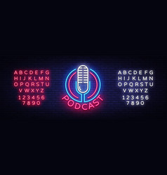 podcast neon sign design template podcast vector image
