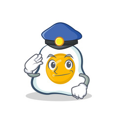 Police fried egg character cartoon vector