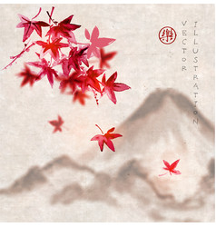 Red japanese maple leaves and fujiyama mountain vector
