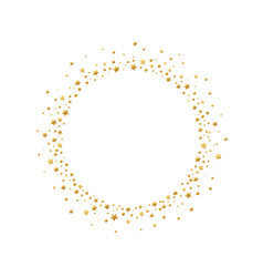 round frame with gold confetti stars and circles vector image