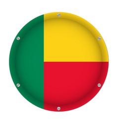 round metallic flag of benin with screws vector image