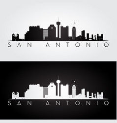 san antonio usa skyline and landmarks silhouette vector image