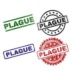 Scratched textured plague stamp seals vector