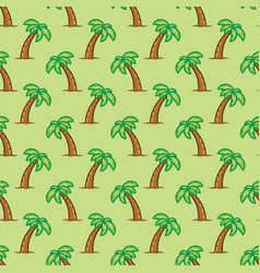 Seamless pattern tropical palm tree on green vector