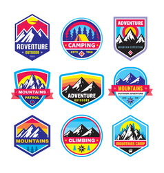 set adventure outdoor concept badges vector image