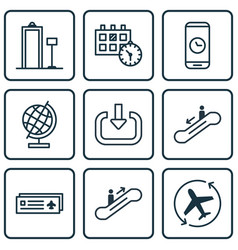 Set of 9 traveling icons includes aircraft arrow vector
