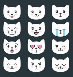 set of cat faces with different emotions vector image