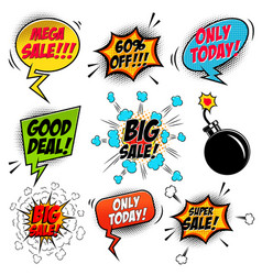 set of comic style mega sale speech bubbles vector image