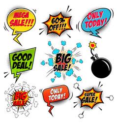 set of comic style mega sale speech bubbles vector image