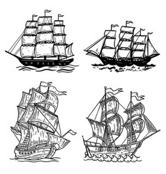 Set of sea ship isolated on white background vector