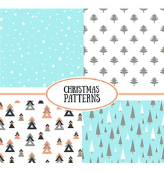 set simple retro christmas patterns backgrounds vector image