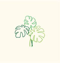 Simple monstera plant design vector