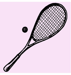 Squash racket and ball vector