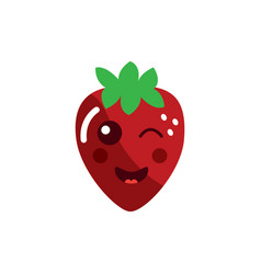 Strawberry wink fruit kawaii icon image vector