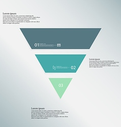 Triangle template consists of three color parts on vector