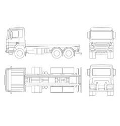 truck tractor or semi-trailer truck in outline vector image