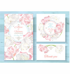 Tulip invitations set vector