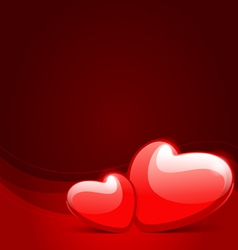 two red glossy hearts vector image