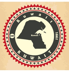 vintage label-sticker cards kuwait vector image