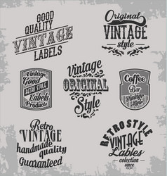 Vintage retro labels on grey bacground vector