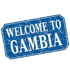 Welcome to Gambia blue square grunge stamp vector