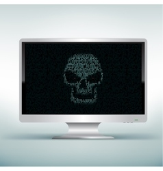 white monitor with skull code vector image