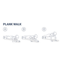 Woman doing plank walk up exercise fitness home vector